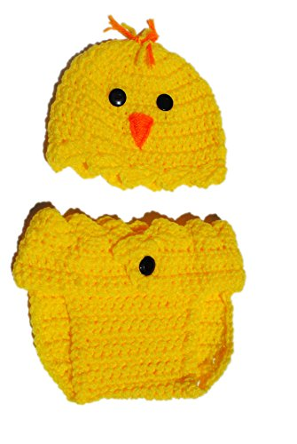 0 - 6 Month Infant Easter Chick Diaper Cover and Hat Photo Prop