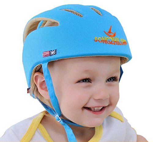 Eyourhappy Infant Baby Toddler Safety Helmet Headguard Hat Adjustable Safety Protective Harnesses Cap (Blue) - Baby Safety Helmet