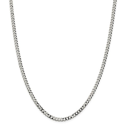 Mia Diamonds 925 Sterling Silver Solid 4mm Beveled Curb Necklace Chain -20