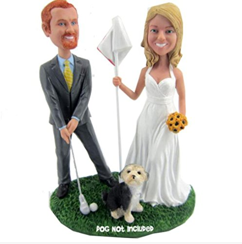 Custom Golfing Wedding Bobblehead Polymer Clay Bobbleheads Cake Toppers by MiniBobbleheads