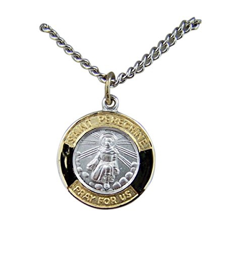 Gold and Sterling Silver Tu-Toned Saint St Peregrine Medal Pendant, 5/8 Inch