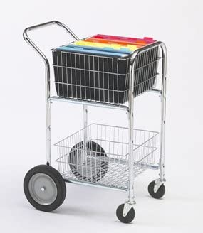 Charnstrom Compact Mail Cart with Bolt in Baskets and 10-Inch Rear Wheels M240