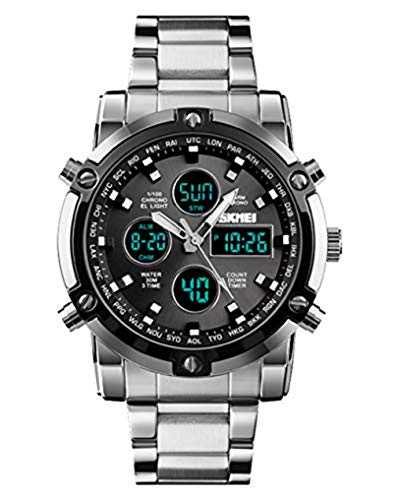 Stainless Steel Strap Outdoor Sport Watch Analog Digital LED Dual Time Display Mens Watch (Silver Black) ()