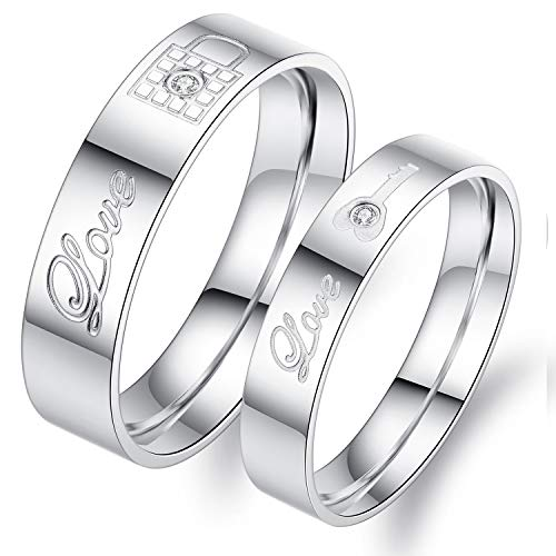 Fate Love Jewelry 2pcs Stainless Steel Promise Rings for Couple with Lock and Key Pattern Silver(pack in Box)
