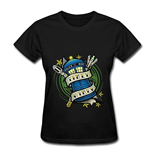 Timey Wimey Doctor Who Women's Vintage Short Sleeve Tshirts Size XXL Black (Playstation Trampoline)