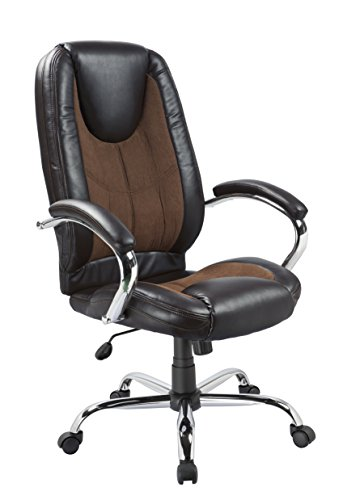 OFFICE FACTOR Black PU Brown Microfiber Contrast Stitching Ergonomic High Back Executive Managerial Office Chair Padded Arms Swivel Lumbar Support Head Rest Comfy Chair by OFFICE FACTOR