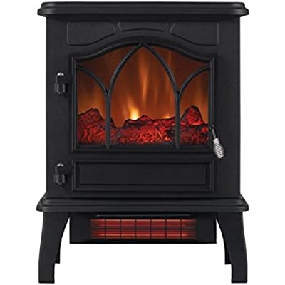 Electric Infrared Quartz Black Metal Body Stove 5200 BTU Heater with Adjustable Thermostat