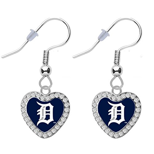 Final Touch Gifts Detroit Tigers Crystal Heart Earrings Pierced -