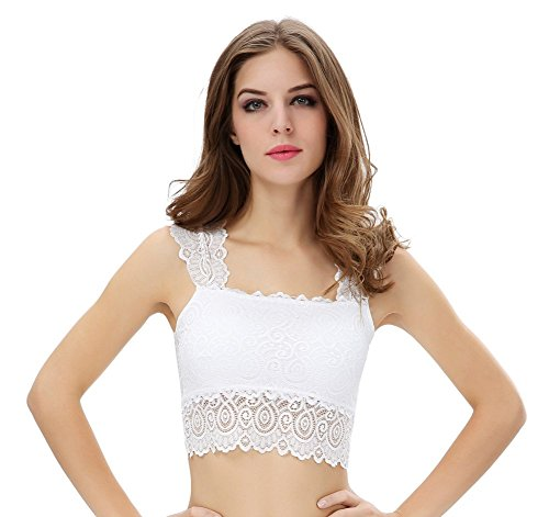 Shawhuaa Womens Lace Overlay Padded Bra Tank Top Half Cami White