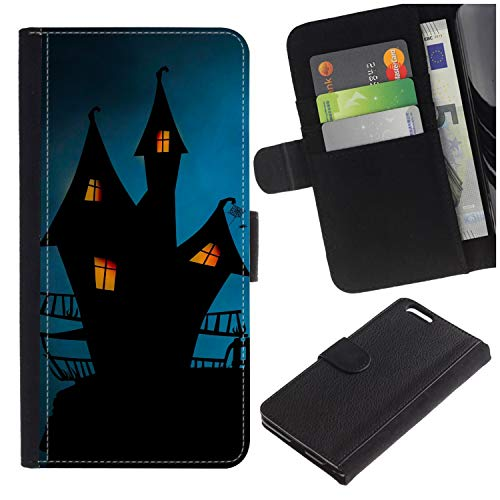 [Halloween Hauted Castle] for Samsung Galaxy S7 Edge (NOT for S7)/ S7 Edge Duos/G930, Flip Leather Wallet Holsters Pouch Skin Case ()