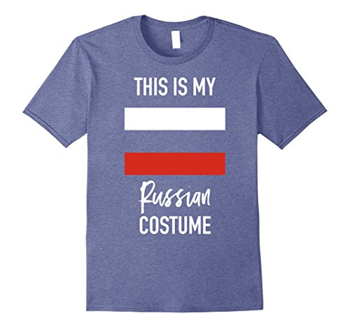 Russian Costume Male (Mens This is my Russian Costume T-Shirt - Funny Halloween Tee Medium Heather Blue)