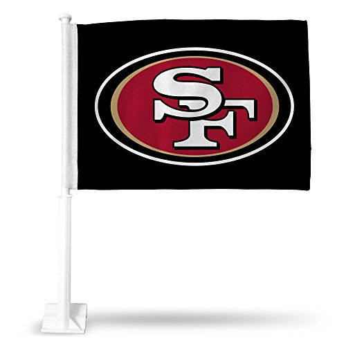 NFL San Francisco 49ers Car Flag, Black, with White Pole ()
