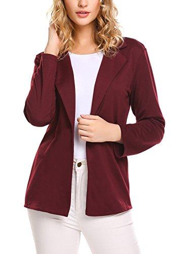Beyove Women Long Sleeve Blazer Open Front Cardigan Jacket Work Office Blazer, Wine Red, - Jacket Office