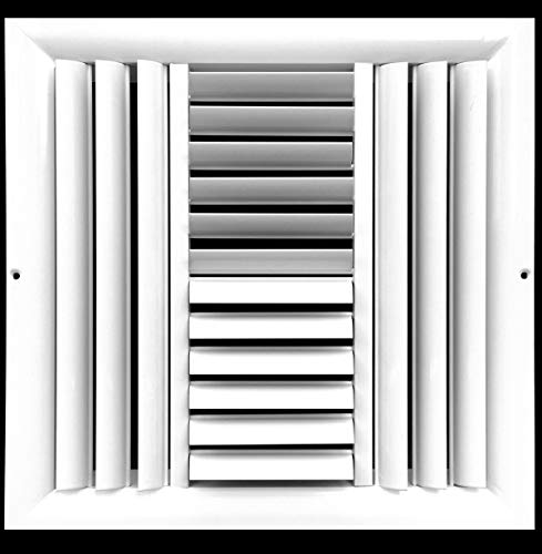 """10""""w X 10""""h 4-Way Aluminum Curved Blade Adjustable Air Supply HVAC Diffuser - Full Control Vertical/Horizontal Airflow Direction - Vent Duct Cover [Outer Dimensions: 11.65""""w X 11.65""""h]"""