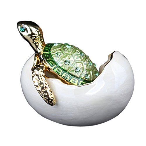 Bejeweled Turtle in Hatching Egg Trinket Jewelry Box Czech Diamond Turtle Keepsake Box Bejeweled Turtle