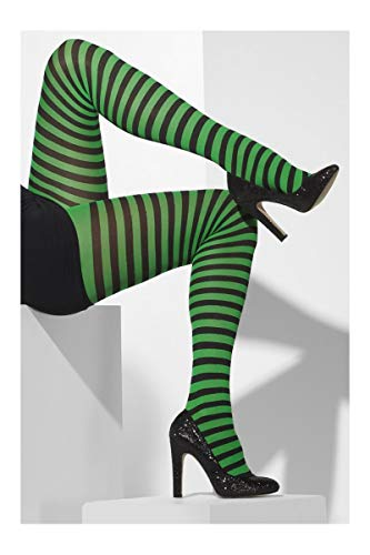 Fever Women's Opaque Tights and Striped, Black/Green, One -