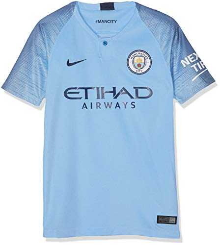 Nike 2018-2019 Man City Home Football Soccer T-Shirt Jersey (Kids)