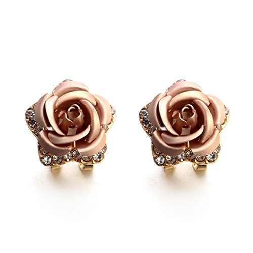Sterling Silver Stud Earrings, Forthery Women's 925 Sterling Crystal Rose Rhinestone Earrings (Diamond Freshwater Brooch)
