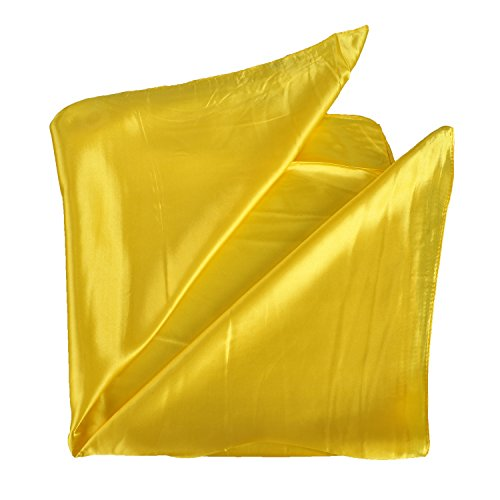 Soft Yellow Satin - Women's Fashion Soft Satin Square Scarf Set Head Neck Multiuse Solid Colors Available (Yellow)