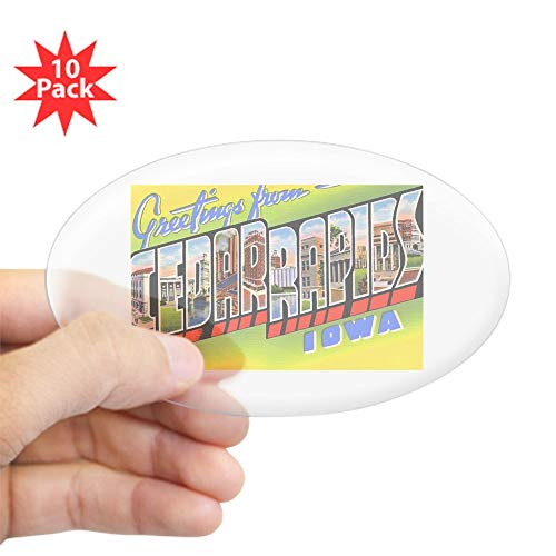 CafePress Cedar Rapids Iowa Greetings Oval Sticker (10 Pk) Oval Sticker (10-Pack), Bumper Sticker, Car Decal, Euro Oval