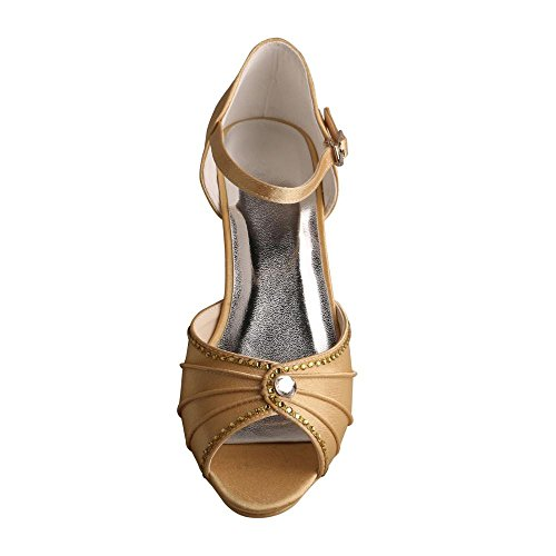 Wedopus MW033B Puntera Abierta de La Mujer Mid-Heel Mary Janes Rhinestones Boda Fiesta Sandalias dorado