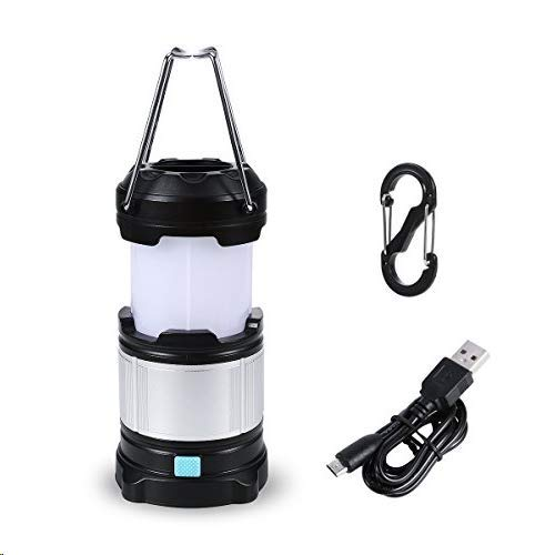 TRYLIGHT Camping Lantern Rechargeable, Flashlight Waterproof Portable LED Camping Lights Dimmable 4 Modes Survival Gear for Emergency, Hurricane, Outage with Magnetic Base (Black/Silver)