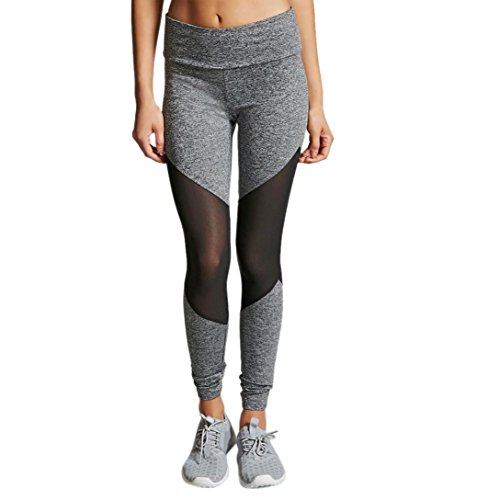 Women Yoga Pants, Neartime High Waist Sports Gym Leggings Mesh Patchwork Running Fitness Pants Workout Clothes (L, Gray)