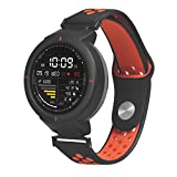 Two-Tone Porous Sports Texture Soft Silicone Replacement Watch Band Wrist Strap for Huami Amazfit Verge (Red)