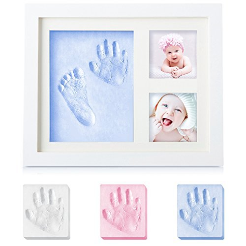 SANMIO Baby Gifts Newborn Handprint and Footprint Photo Frame Kit Keepsake,Baby Shower Gifts for Registry,Best Baby Gifts for Girls and Boys,Environmentally Friendly Wood&Natural Non-Toxic Clay by SANMIO