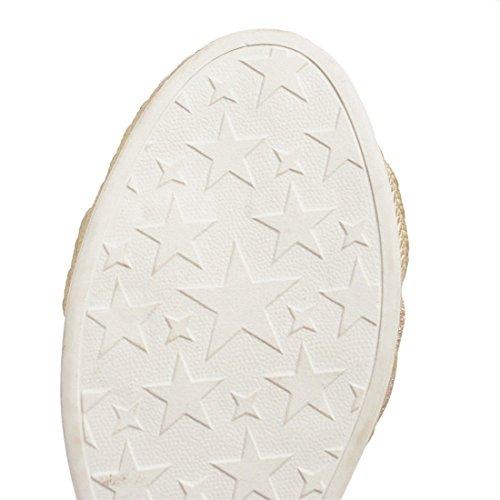 Modelos Sandalias Zapatos Golden con Alto Tacón con Sandalia para con Pendiente Sandalias Europeos Mujer de de una Mujer Paja de Mujer Código y Pulsera Grandes Americanos AY4rwWYqEB
