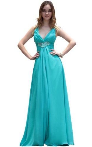 Kingmalls Womens Deep V-Neck Elegent High Waist Bridesmaid Dresses (Medium)