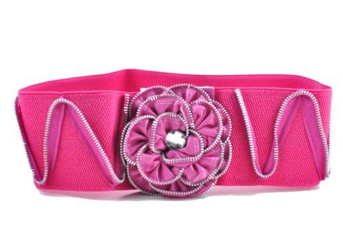 "Fabulous Women 4"" Thick Wide Stretch Elastic Belt w/Zipper Flower (S/M, PINK)"