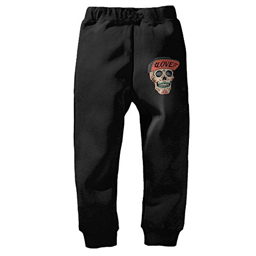 Love Sugar Skull and Flat Bill HatKid's Winter Cotton Unisex Little Boys' Girls' Active Basic Jogger Pants 2 Toddler by DHWEER (Image #1)