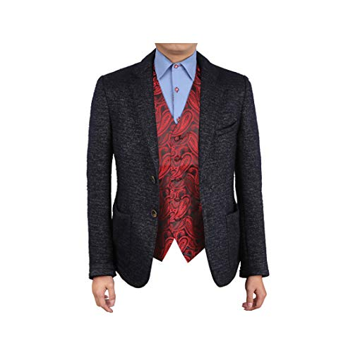 Epoint EGC1B07C-M Red Black Paisley Gifts for the Groom Waistcoat Woven Microfiber Absolutely Mens Vests Medium ()