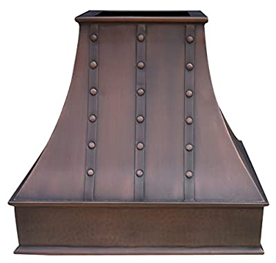 Copper Range Hood Cover Hancrafted by Skilled Artisan, Includes Fan Motor, Lighting and Stainless Steel Liner, Embossed Apron Patterm with Hammered Texture and Antique Patina Wall Mount W36 x H42in
