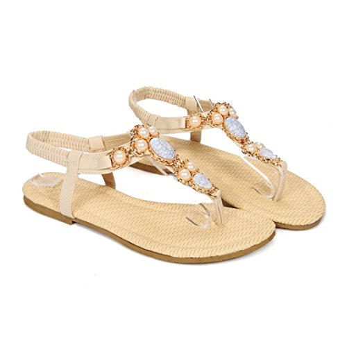 YE Damen Flache Ankle Strap Zehentrenner Sandalen mit Perlen und Gummiband Retro Bequem Schuhe C3hGxCRIwm
