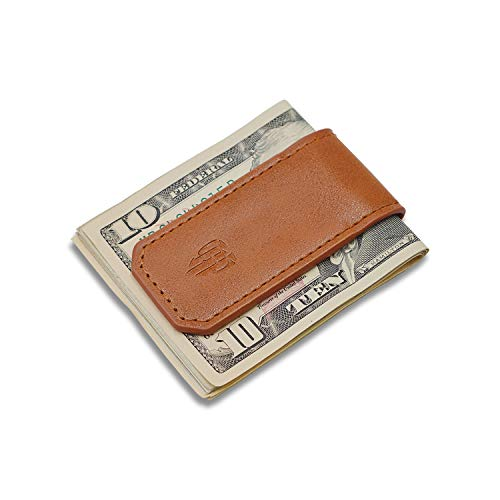 TIANHOO Magnetic Money Clip Leather Cash Holder for Men Slim Compact Money (PU Brown)