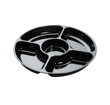 Fineline Settings 3506-BK, 12-Inch 5-Compartment Platter Pleasers Black Plastic Round Trays with Clear Dome PET Lid, Disposable Food Display Platters, Serving Dish Plates with Covers, 24-Piece Set (Disposable Platters With Lids)