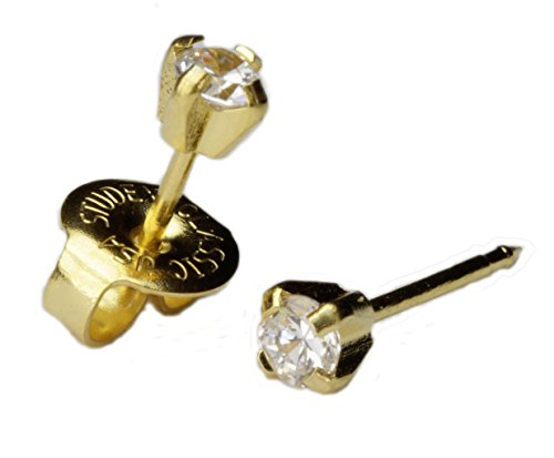 - LONG POST 14kt Yellow Gold 3mm CZ Cubic Ear Piercing Earrings Studex System 75