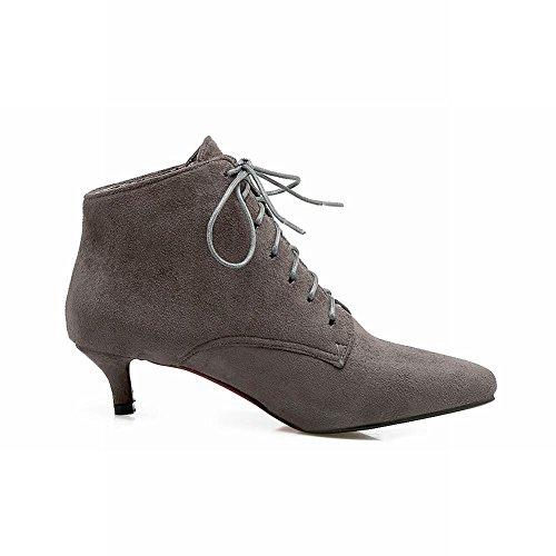 Mee Shoes Damen Niedrig spitz Schnürsenkel Stiefel Grau
