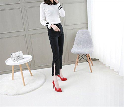 Zapatos Mujer Moda Para Tacon con Plataforma Alto Fiesta Elegante mogeek Stiletto Rojo 5TwqY