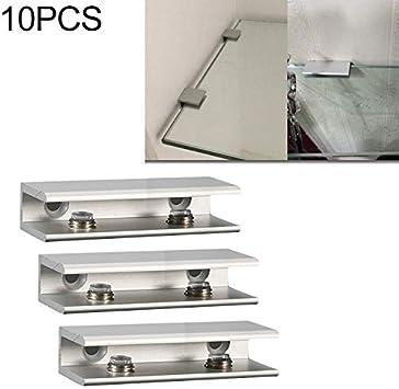 Vidrio abrazaderas ajustables de vidrio Soporte de la parte posterior plana, 10 piezas de doble cristal