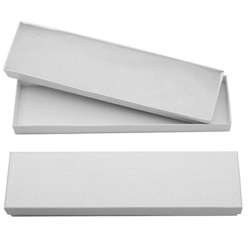 White Cardboard Jewelry Boxes With Swirls 8 x 2 x 1 Inches (16)