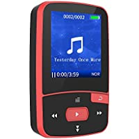 CFZC Bluetooth Clip 8GB MP3 Player Sport MP4 Lossless Sound Music Player with FM Radio Pedometer-Expandable Micro SD Card to 64GB-Red