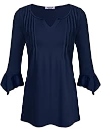 ANGVNS Long Sleeve Henley Shirts 3/4 Sleeve Pleated Tunic Tops Blouses,S-XL
