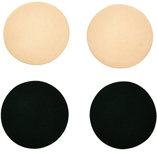 2 Pairs Womens Self Adhesive Silicone Breast Nipple Cover Pasties Round Black Nude