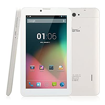 Dragon Touch E71 7'' Quad Core Phablet, Android Phone Tablet, Google Android 4.4 Kitkat, 8GB, Bluetooth 4.0, GPS, FM Radio, 1024 x 600 HD Screen, Dual Camera with Flash, Unlocked GSM, w/ Dual Sim Card Slot, 2G/3G Phablet