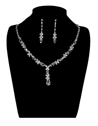 UDORA Rhinestones Necklace Earrings Jewelry Sets for Wedding Bridal Party (Wedding Jewelry For Bridesmaids)