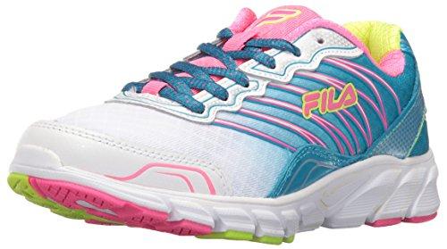 Fila Girls' Countdown Skate Shoe, White/Atomic Blue/Knockout Pink, 2.5 M US Little Kid