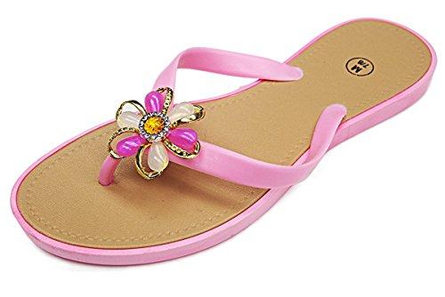 101 Sandali Da Donna Con Cinturino Gioiello Impreziositi Da Spiaggia Rosa